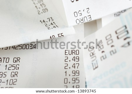 Shopping receipts with euros amounts