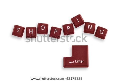 Shopping red button keyboard  isolate - internet concept - stock photo
