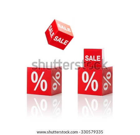 shopping, retail and merchandising concept - set of boxes with sale and percent sign - stock photo