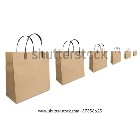 Shopping season concept image. Typical brown shopping bags aligned - stock photo