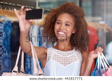 Shopping selfies time - stock photo