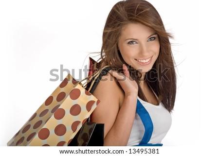 Shopping sexy girl  isolated on white background - stock photo