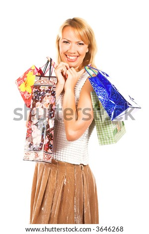 Shopping sexy woman over a white background.