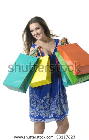 Shopping sexy woman with bags in two hands