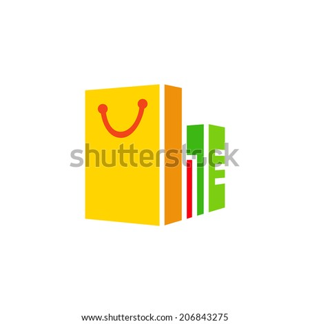 Shopping sign branding identity corporate logo isolated on a white background - stock photo
