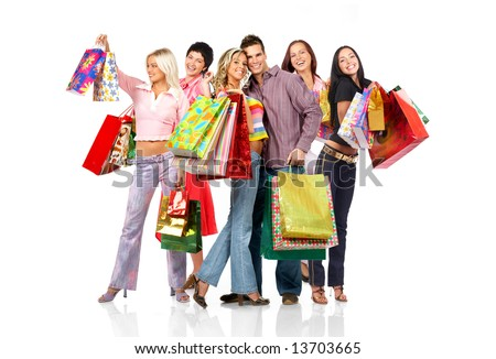 Shopping  smile people. Isolated over white background - stock photo