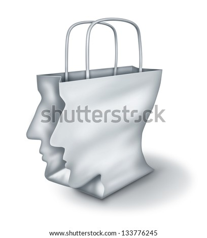 Shopping solutions and intelligent shopper as a concept of a bargain hunter with a white paper bag shaped as a human head on a white background - stock photo