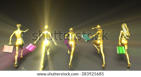 Shopping Spree with Crowd of Ladies Running - stock photo