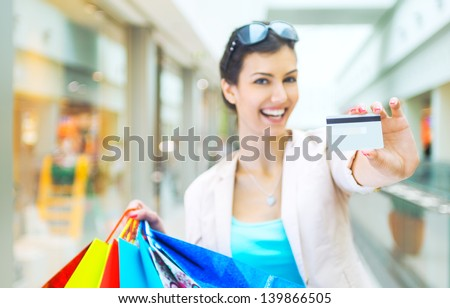 Shopping time, focus on credit card - stock photo
