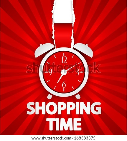 Shopping time poster design with alarm clock - stock photo