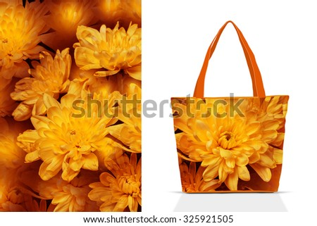 Shopping tote bags pattern, floral design mockup