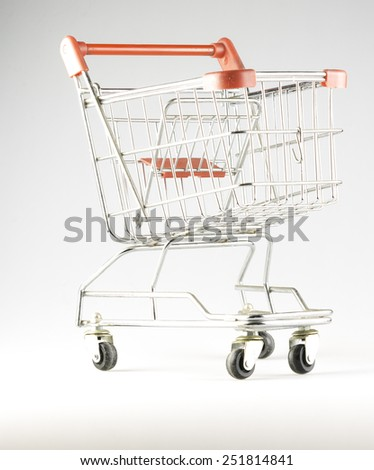 shopping trolley against a white background