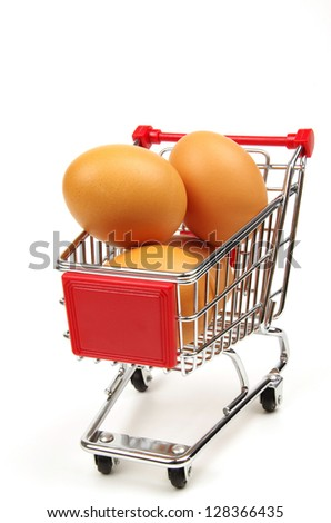 shopping trolley and fresh eggs