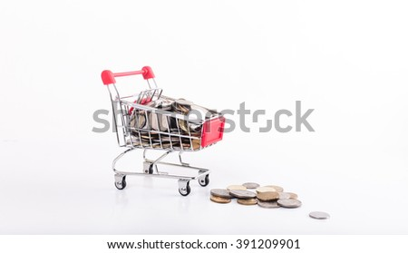 shopping trolley bring coins with white background