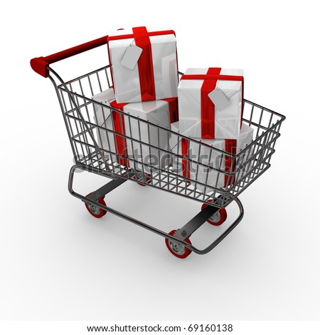 Shopping trolley / cart with gift boxes - stock photo