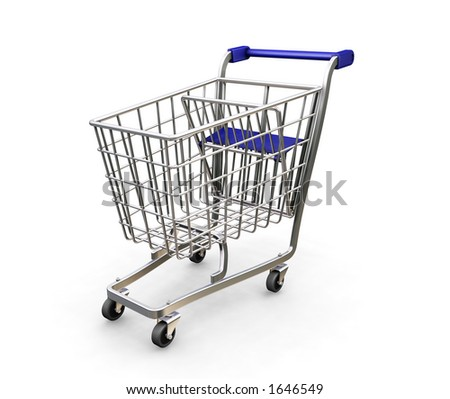 Shopping trolley - 3D render