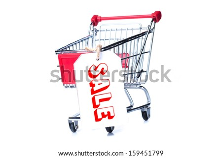 Shopping trolley isolated on white background. Pinned chit sale.
