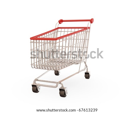 Shopping trolley isolaten on white background.3d rendered. - stock photo