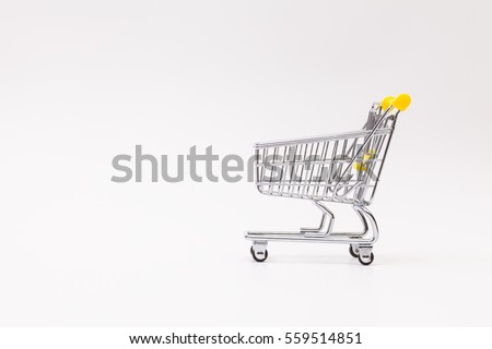 Shopping trolley on the white background