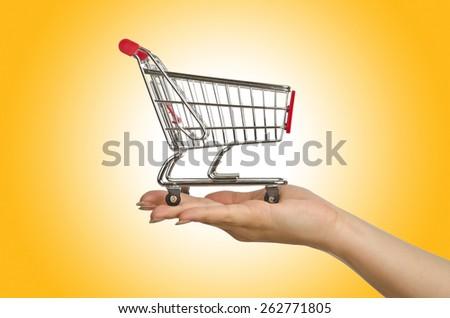 Shopping trolley on white - stock photo