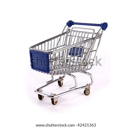 Shopping trolley over white background - stock photo