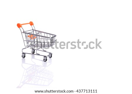 Shopping trolley. Shopping cart. Free space for your informations - stock photo