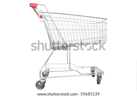 Shopping trolley under the white background - stock photo