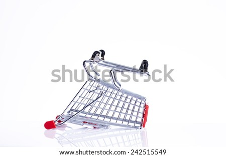 shopping trolley up side down - stock photo