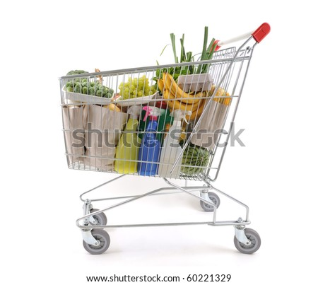 Shopping trolley viewed from side - a series of SHOPPING TROLLEY images. - stock photo