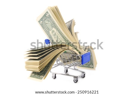 shopping trolley with dolars  isoalted on white - stock photo