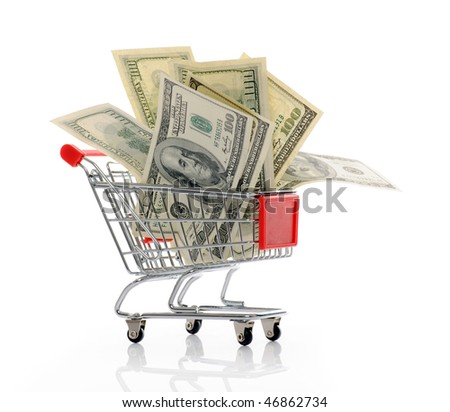 shopping trolley with dollars