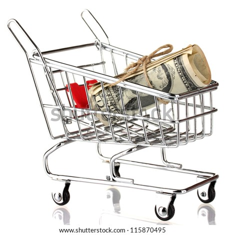 shopping trolley with dollars, isolated on white