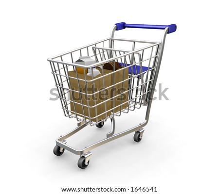 Shopping trolley with groceries - 3D render