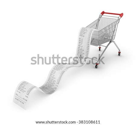 Shopping Trolley With long Receipts Over White Background - stock photo