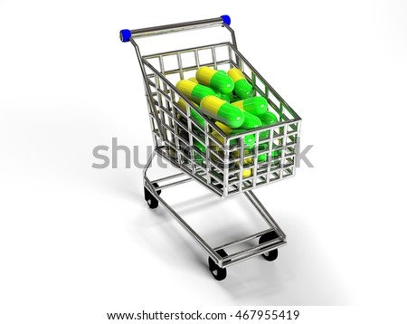 shopping trolley with pills on white background, 3d render