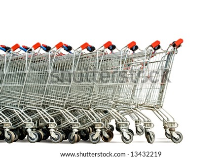 shopping trolleys - stock photo