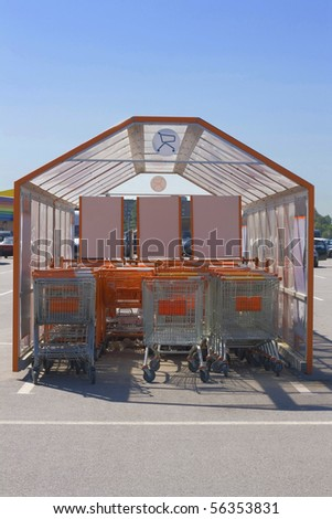 Shopping trolleys tent neat the supermarket in sunny day