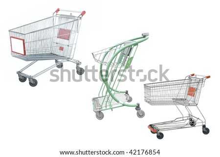 shopping trolleys under the white background - stock photo
