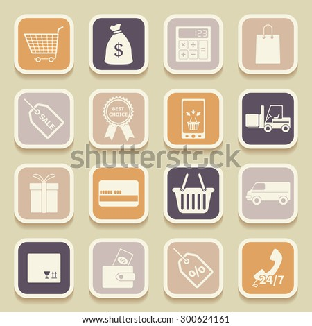 Shopping universal icons for web and mobile applications. Raster version - stock photo