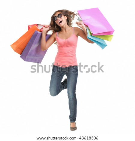 Shopping woman. Cheerful young woman running of happiness after a shopping spree. Full length isolated on white background. - stock photo