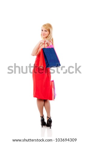 shopping woman happy smiling holding shopping bags isolated on white background