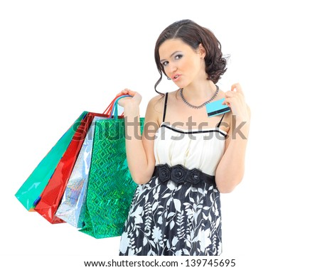 Shopping woman happy take credit card and shopping bag