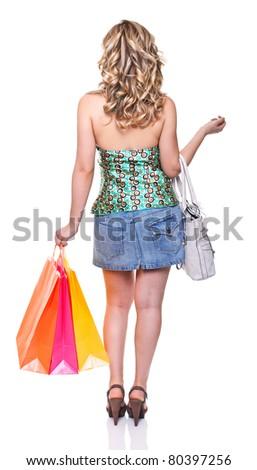 shopping woman isolated on white background - stock photo