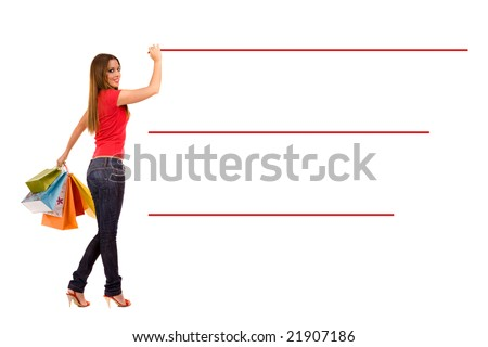 Shopping woman make purchasing list. Add your text on line. - stock photo