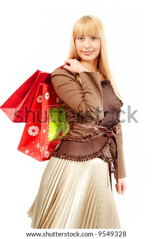 shopping woman on white baclground