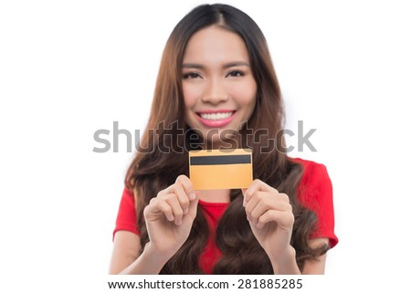 Shopping woman showing sign or blank card. Chinese Asian / Caucasian isolated on seamless white background. Focus on the blank sign / card. - stock photo