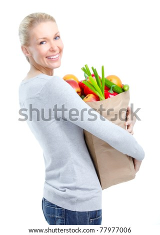 Shopping  woman smiling. Isolated over white background - stock photo