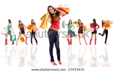 Shopping woman with bag and blurred girl in background. - stock photo