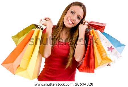 Shopping woman with colorful bags. - stock photo