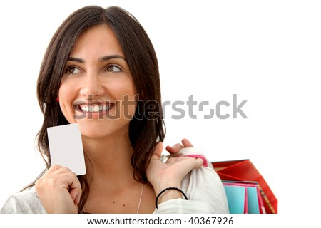 shopping woman with credit card isolated on white - stock photo